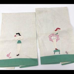 Vintage Dish Towels Cute Pin-Up Poses Appliqué